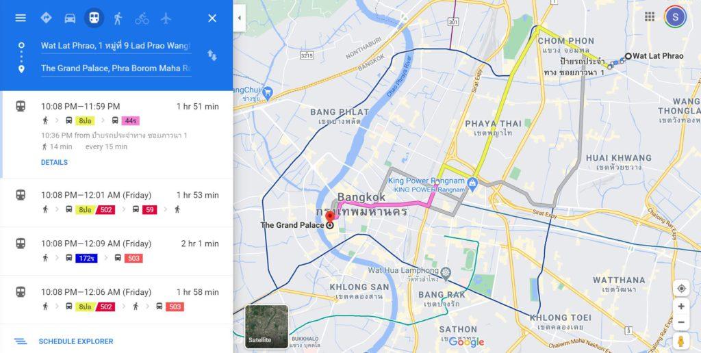 Searching Bus routes in Bangkok via Google Maps