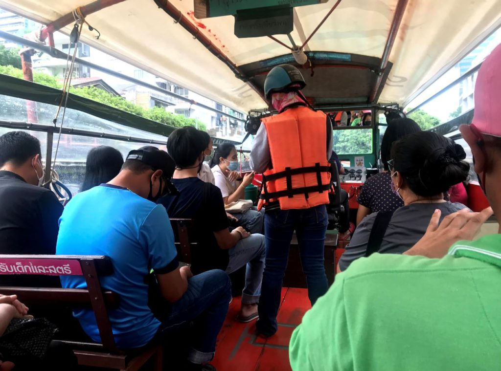 Inside Boat traveling in the canals