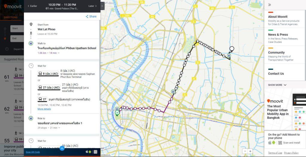 Searching Bus Routes in Bangkok via Moovit app