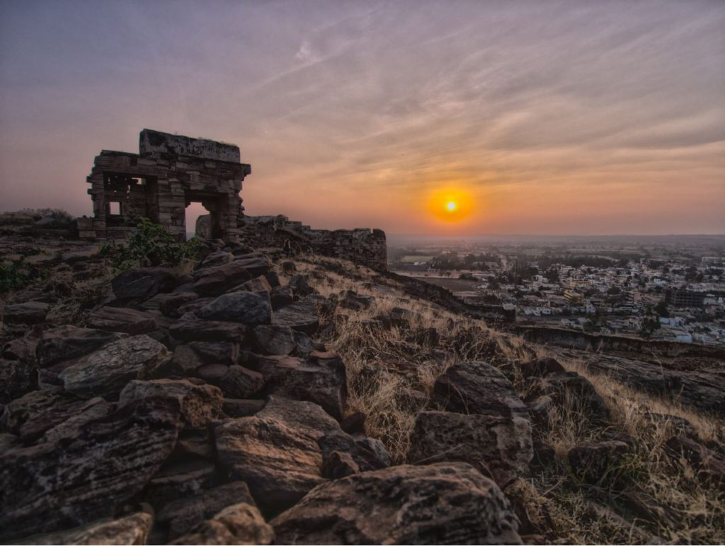 Sunset from the ruins of Badami Fort