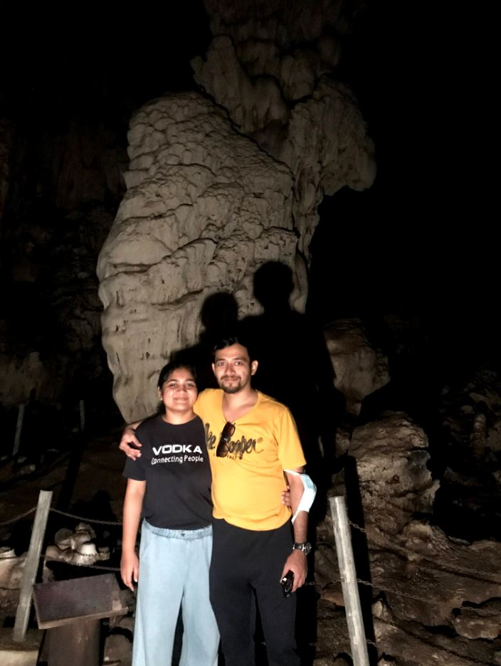 A picture with the column cave wall (the stalagmites and stalactites meet) inside Tham Lod Caves