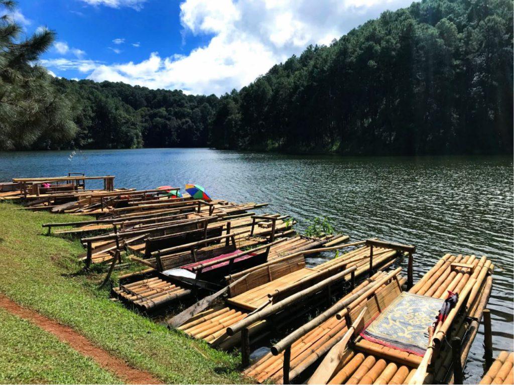 Bamboo rafting at Pang Oung