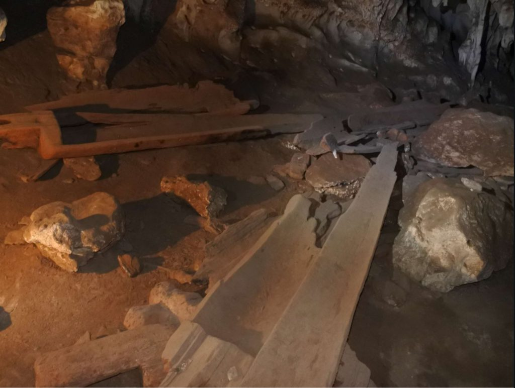 Coffins found inside the coffin cave, Tham Lod caves
