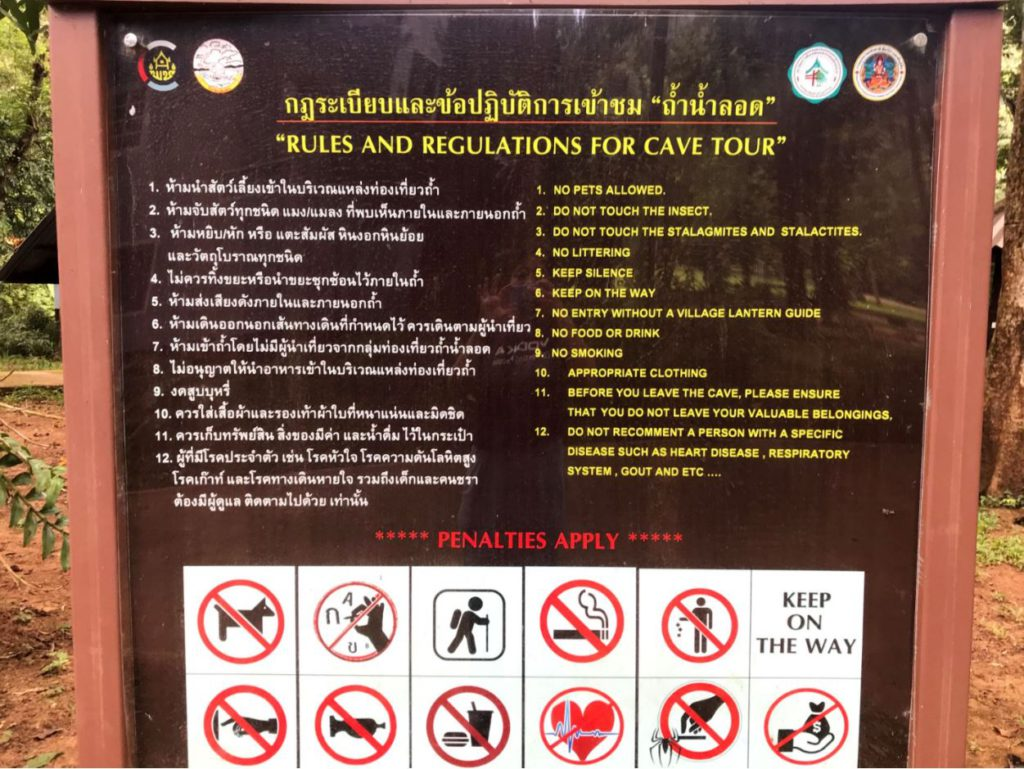 Tham Lod caves rules and regulations
