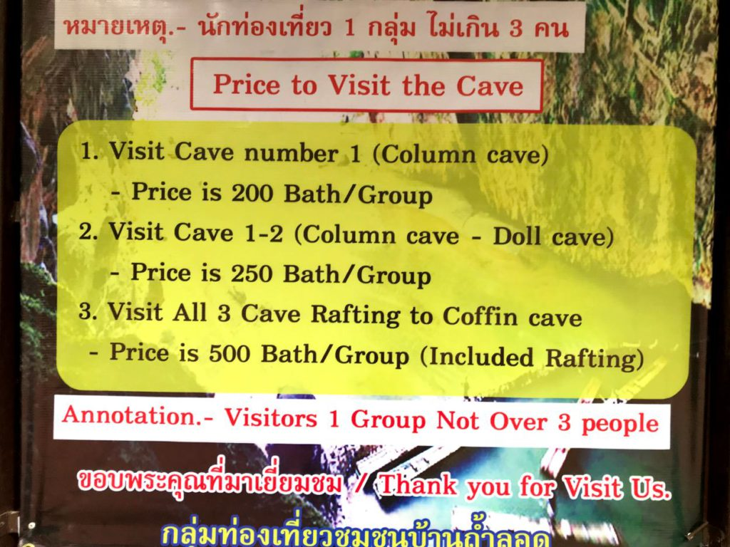 Ticket price for Tham Lod Caves