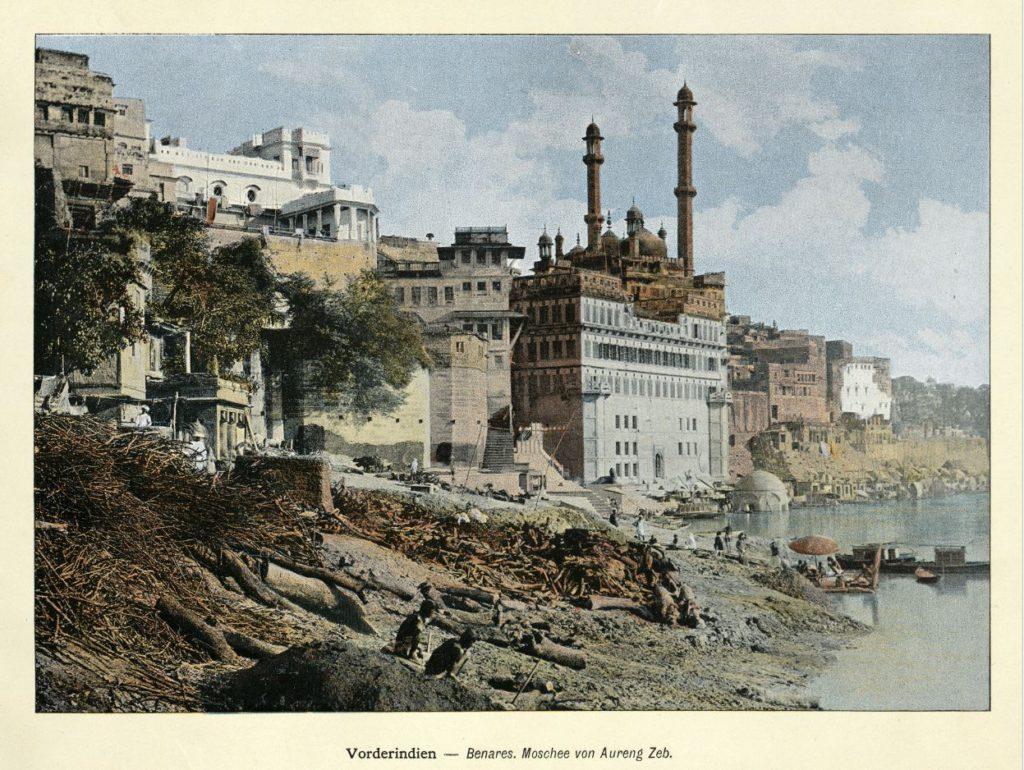 An illustration of Alamgir mosque from the colonial times