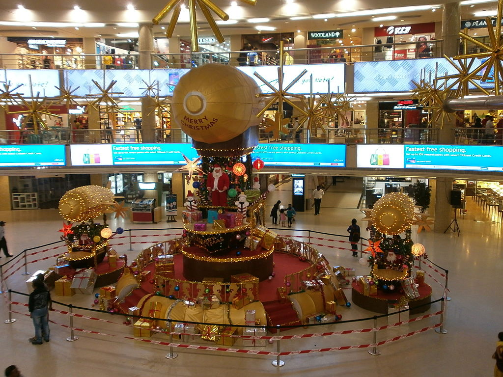 Christmas decorations at a Mall in India