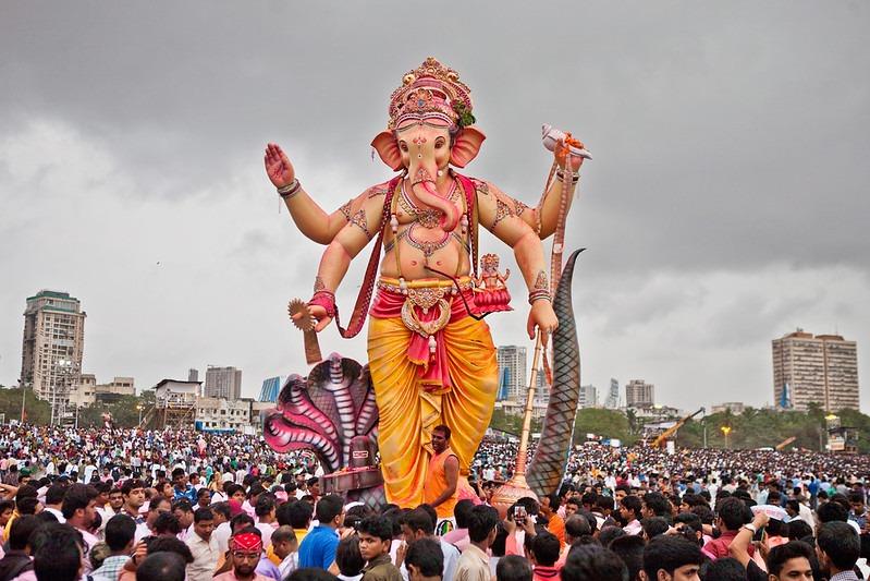 Statue of Ganesha taken through a procession.