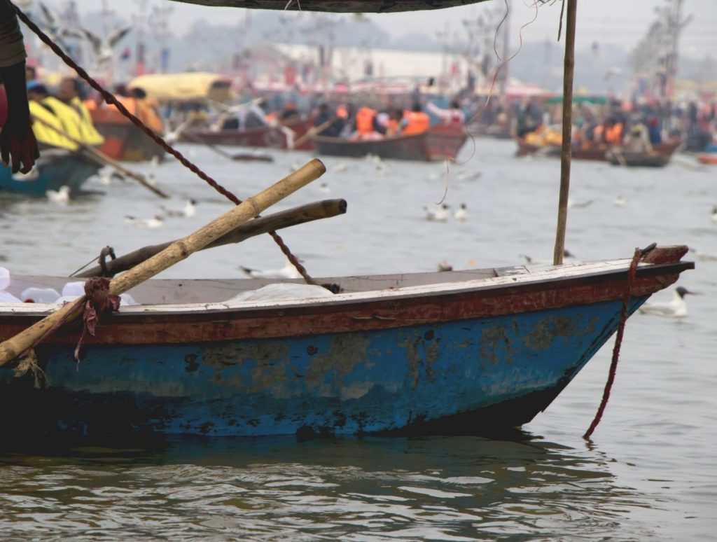 Boats available for hire at Sangam