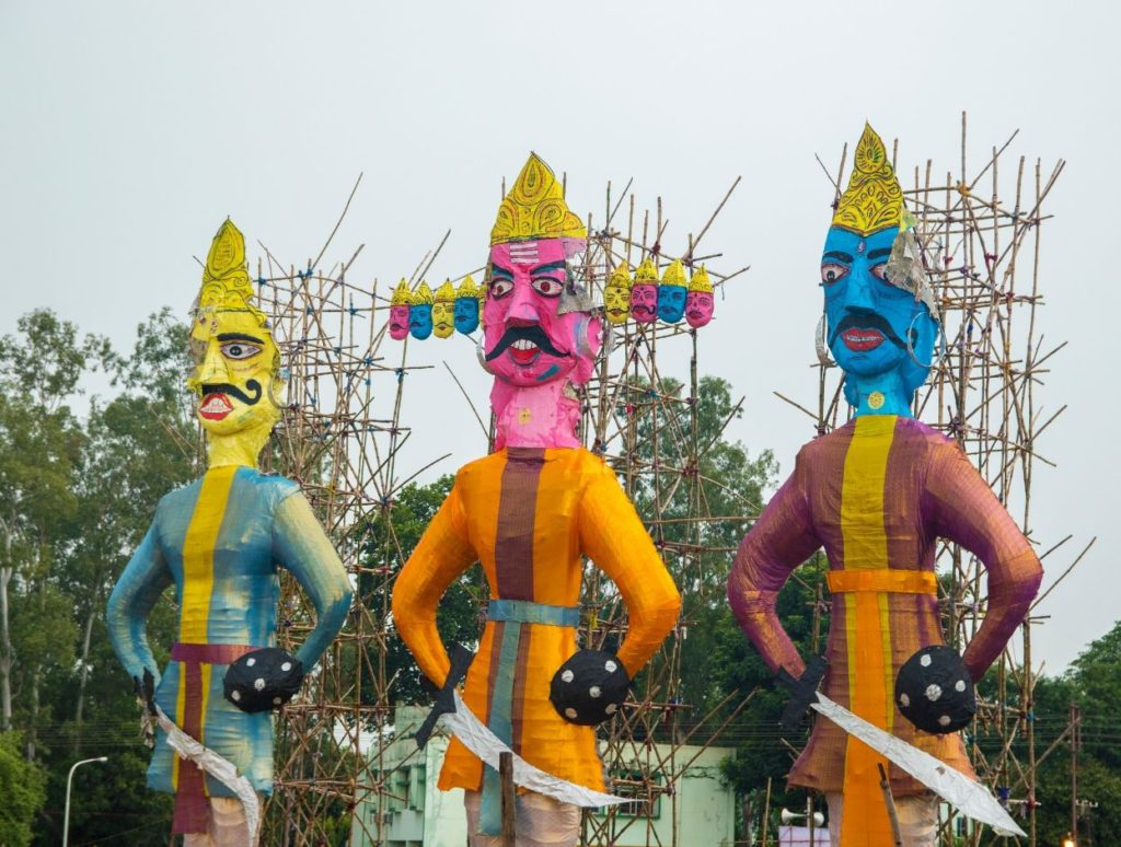 The statues of Ravana stuffed with flammable stuffing
