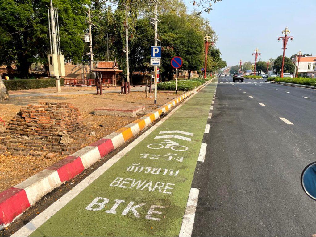 Cycle lanes in Ayutthaya city