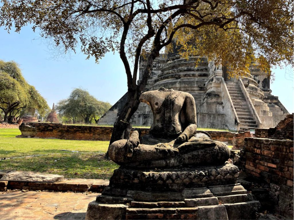 Ruins of Buddha statue inside Wat Phra Si Sanphet premise, Ayutthaya